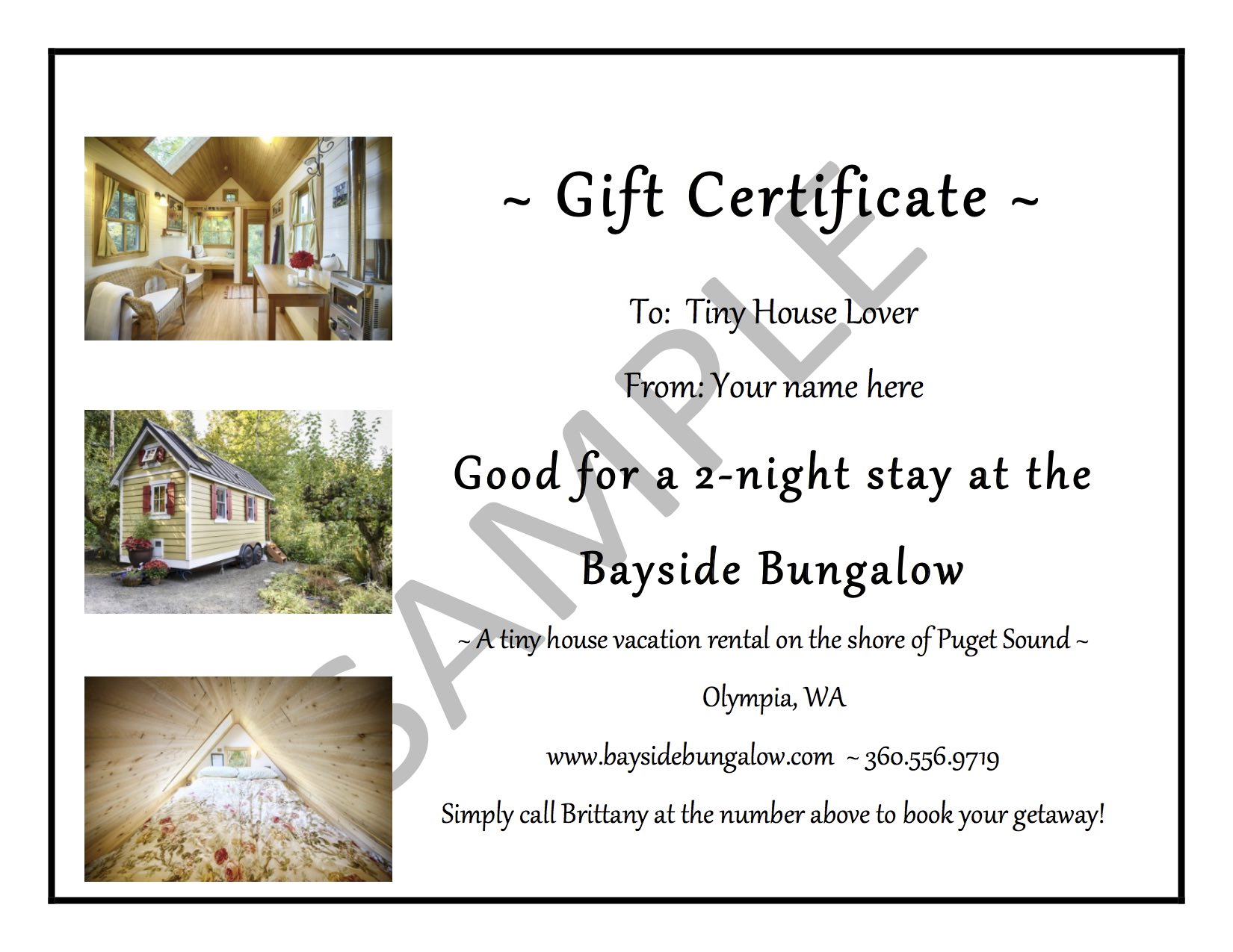 gift certificates bayside bungalow tiny house vacation rental sample gift certificate